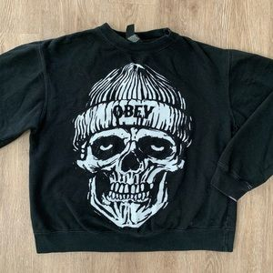 Obey S black crew neck skull silk screen white
